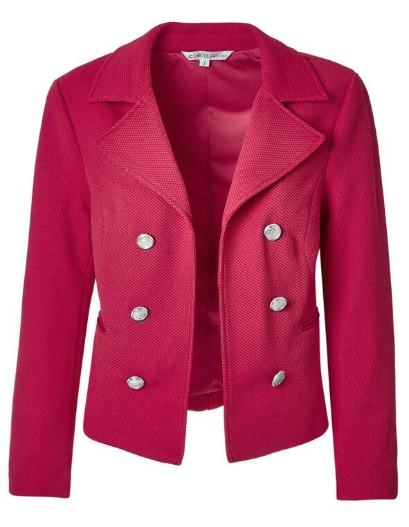 Fresh Pink Pique Military Blazer, Fresh Pink, hi-res