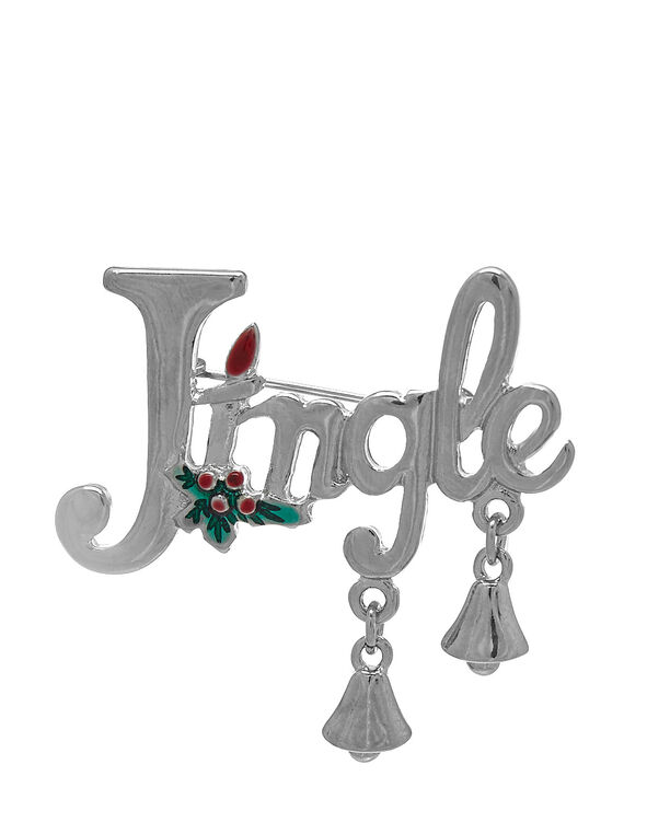 "Silver ""Jingle"" Bell Pin, Silver, hi-res"