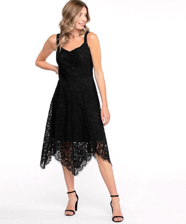 Black Lace Sharkbite Dress, Black