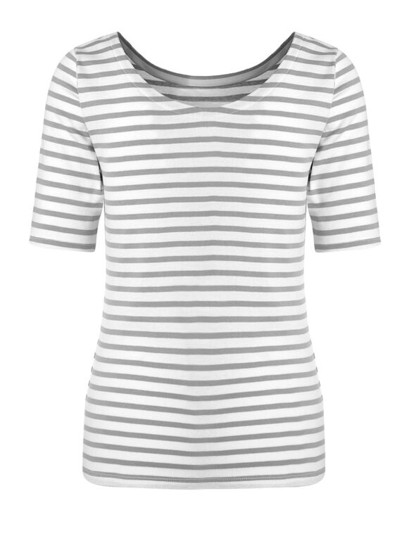 White Stripe Cotton Tee, White/Grey, hi-res