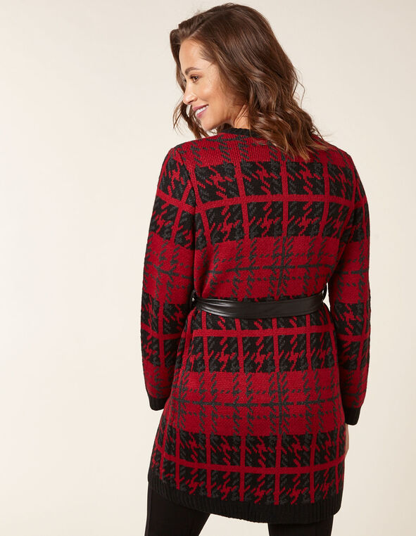 Ruby Plaid Sweater Coat, Red/Black, hi-res