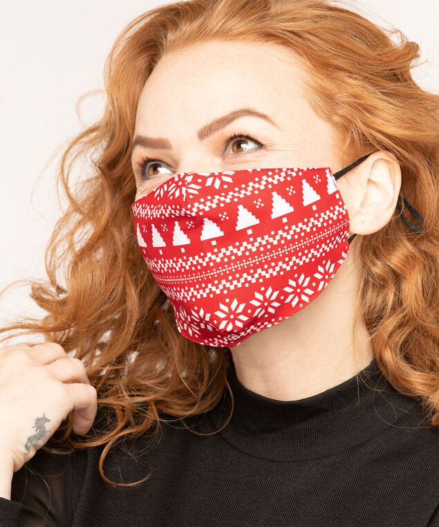 Cotton-Lined Face Mask Set, Red/White