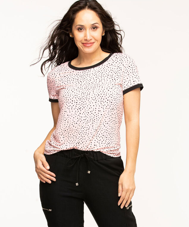Short Sleeve Back Button Top, Pink/Black