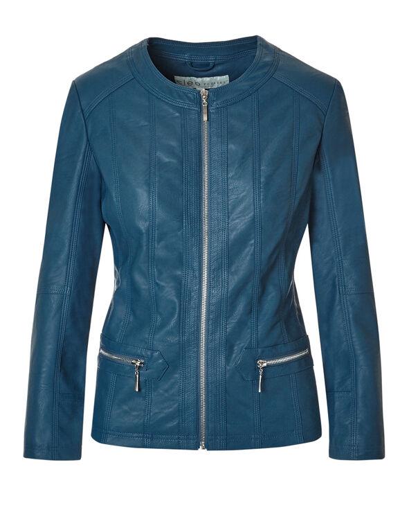 Turquoise Faux Leather Jacket, Dark Turquoise, hi-res
