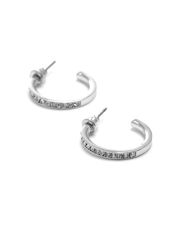 Silver Genuine Crystal Hoop Earring, Silver, hi-res