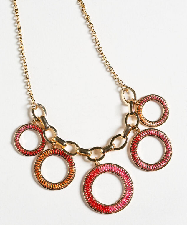 Threaded Rim Statement Necklace, Pink/Orange/Gold