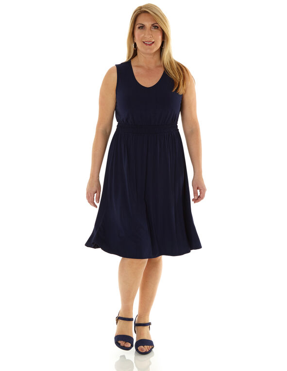 Navy Fit & Flare Dress, Navy, hi-res