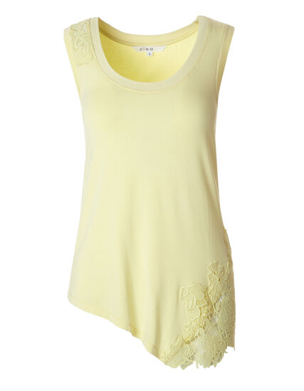 Yellow Sleeveless Applique Top, Yellow, hi-res