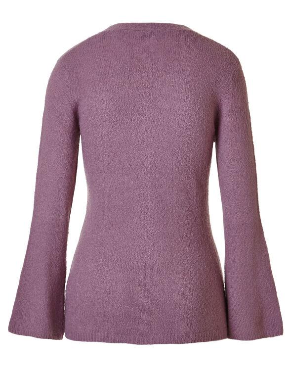 Mauve V-Neckline Sweater, Mauve, hi-res