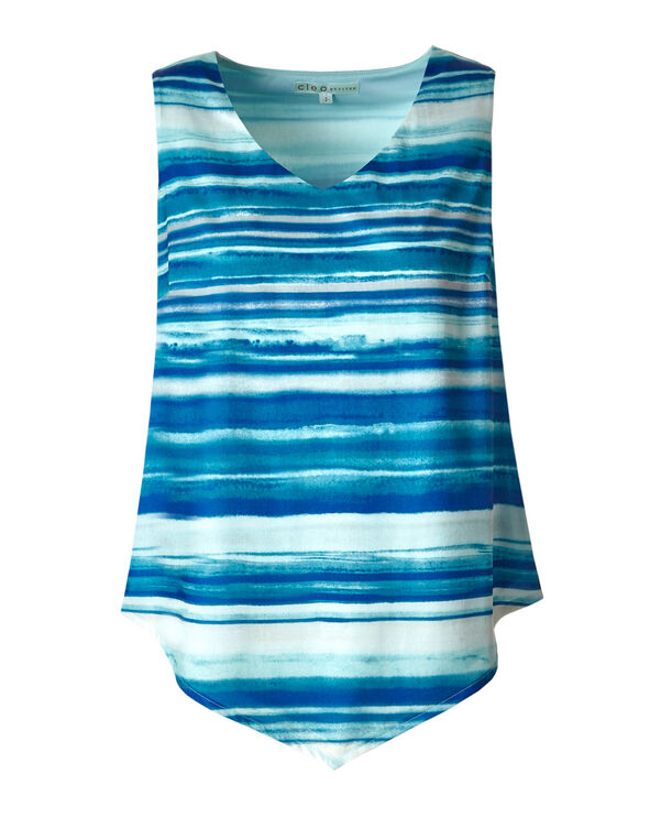 Blue Striped Asymmetrical Top, Blue, hi-res
