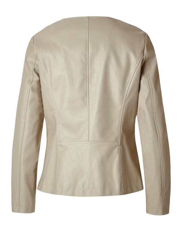 Stone Braid Faux Leather Jacket, Stone, hi-res