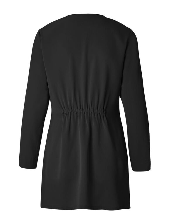 Black Draped Blazer, Black, hi-res