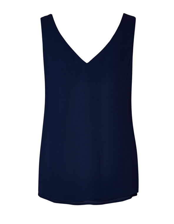 Navy Reversible Neck Blouse, Navy, hi-res