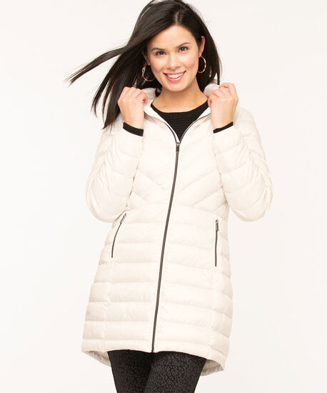 Pearlized White Packable Puffer, White, hi-res