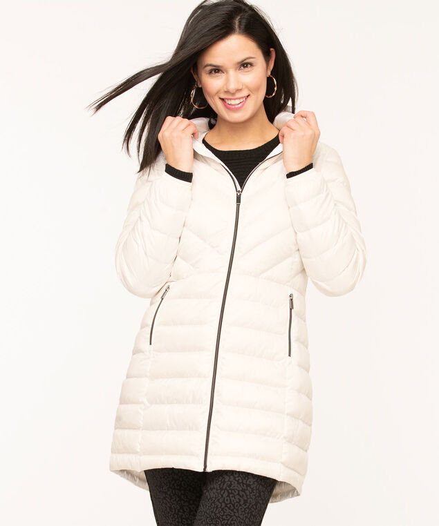 Pearlized White Packable Puffer, White
