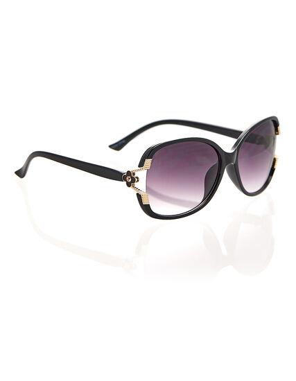 Black Flower Detail Sunglasses, Black, hi-res