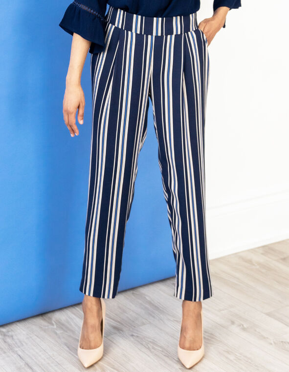 Navy Striped Pull On Pant, Navy, hi-res
