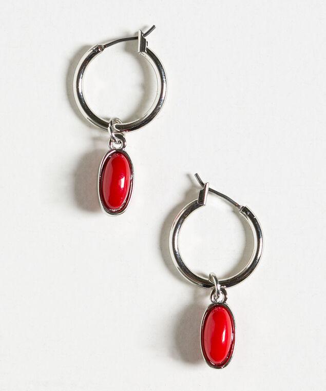Red Bead Hoop Earring, Red/Silver, hi-res