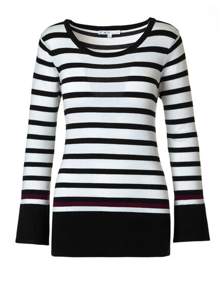 Black Striped Sweater, Black/Ivory, hi-res