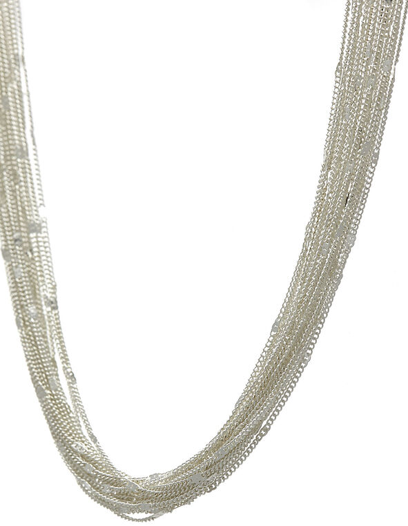 Silver Short Multi-Chain Necklace, Silver, hi-res