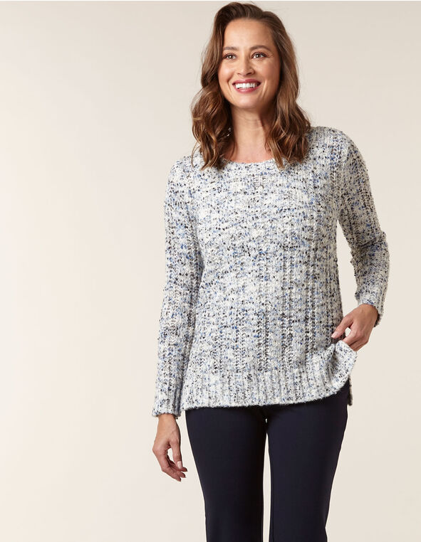 Blue Patterned Yarn Sweater, Ivory, hi-res