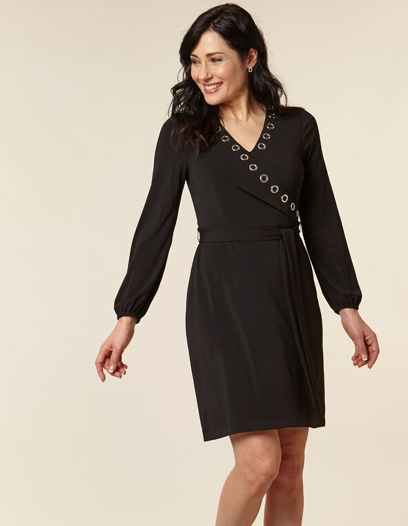 Black Solid Grommet Detail Dress, Black, hi-res