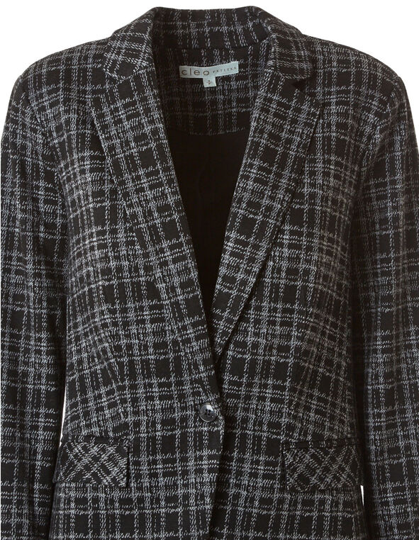 Black Plaid Boyfriend Blazer, Black, hi-res