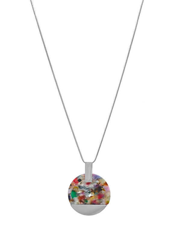 Multi-Colour Resin Statement Necklace, Silver, hi-res
