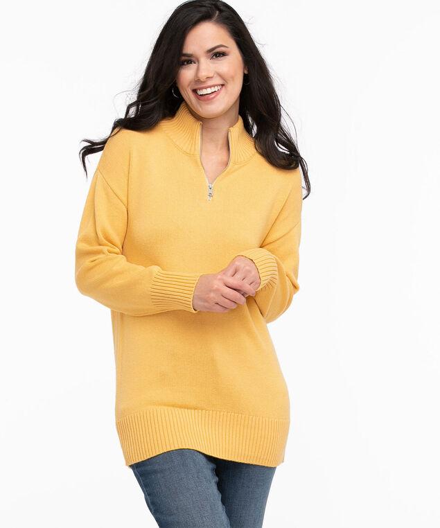 Quarter Zip Tunic Sweater, Washed Ochre Mix