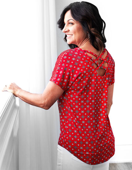 Red Patterned Crochet Sleeve Top, Red, hi-res