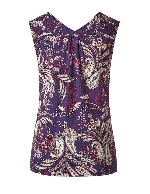 Purple Paisley Sleeveless Tee, Dark Purple, hi-res