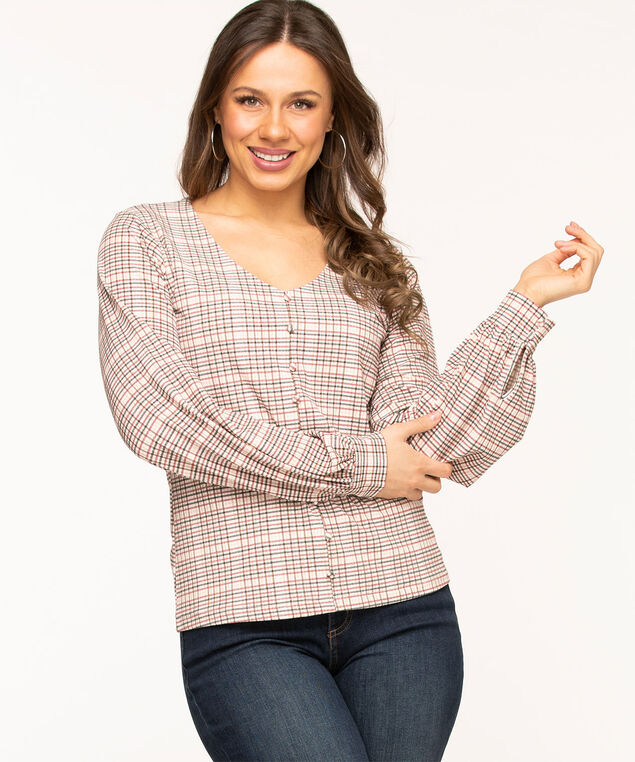 Plaid Popover V-Neck Blouse, Wine/Pink/Ivory Plaid