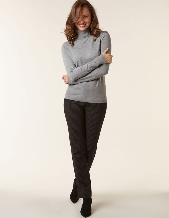 Grey Essential Turtleneck Sweater, Grey, hi-res