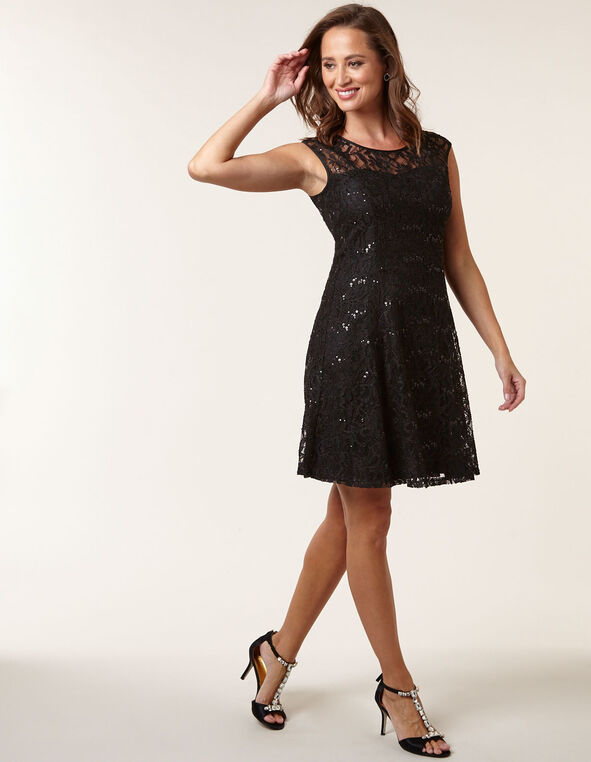 Black Lace Overlay Fit & Flare Dress, Black, hi-res