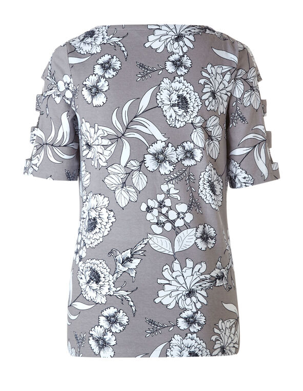 Grey Floral Open Arm Top, Grey, hi-res