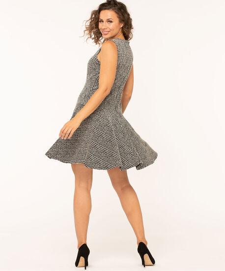 Jacquard Plaid Sleeveless Dress, Light Grey/Black, hi-res