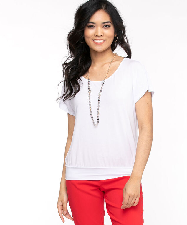 White Scoop Neck Extended Sleeve Top, White