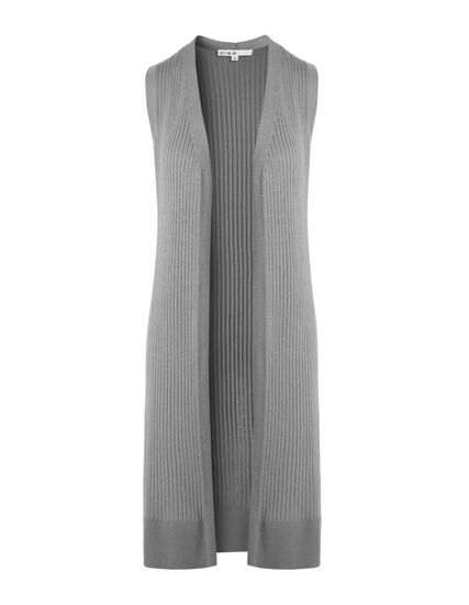 Light Grey Long Ribbed Vest, Light Grey, hi-res