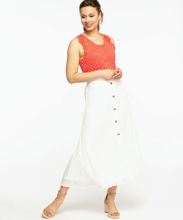 Ivory Button Front Maxi Skirt, Ivory