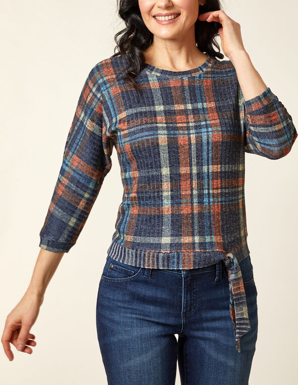 Orange Plaid Hacchi Top, Navy, hi-res