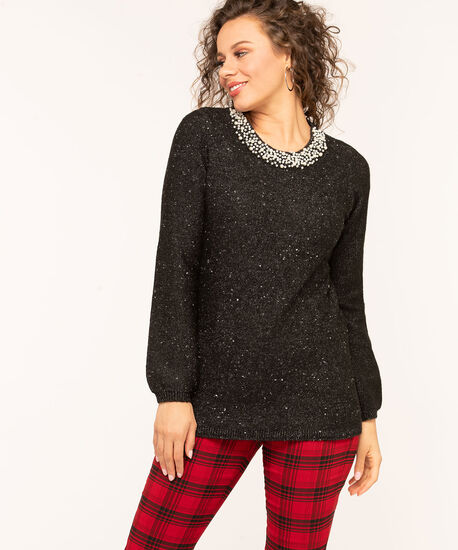 Charcoal Speckle Pearl Trim Sweater, Charcoal Mix/Pearl, hi-res