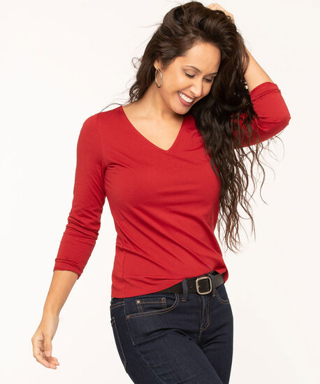 V-Neck Long Sleeve Tee, Red, hi-res