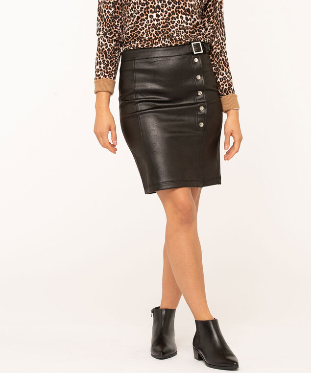 Black Faux Leather Skirt, Black, hi-res