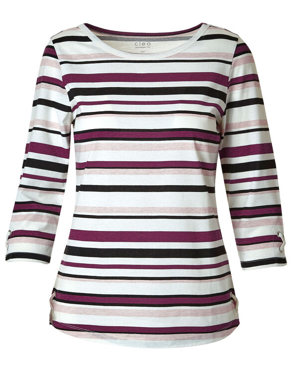 Sangria Striped Grommet Cotton Tee, Sangria/White, hi-res
