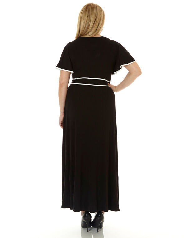 Black Wide Sleeve Maxi Dress, Black, hi-res