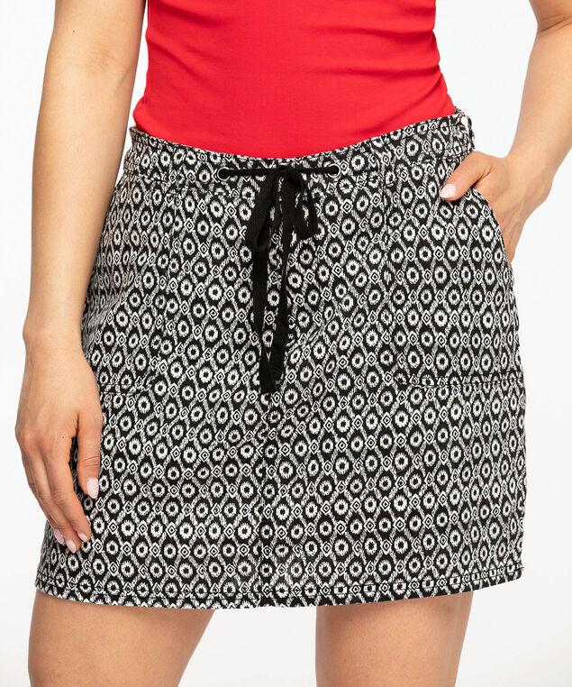 Ikat Print Linen Blend Skort, Black/Ivory Ikat