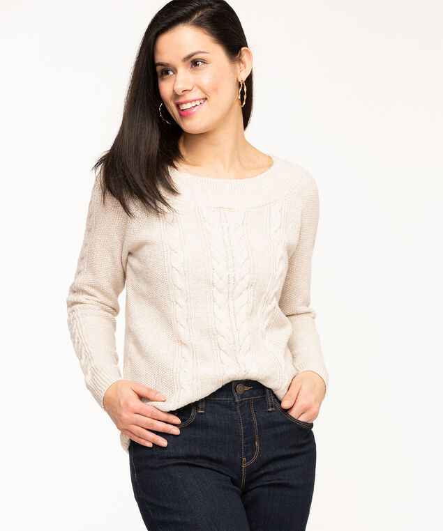 Oatmeal Cable Knit Sweater, Oatmeal Mix