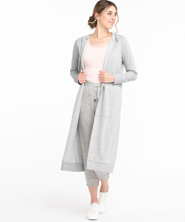 Hooded French Terry Duster Cardigan, Grey