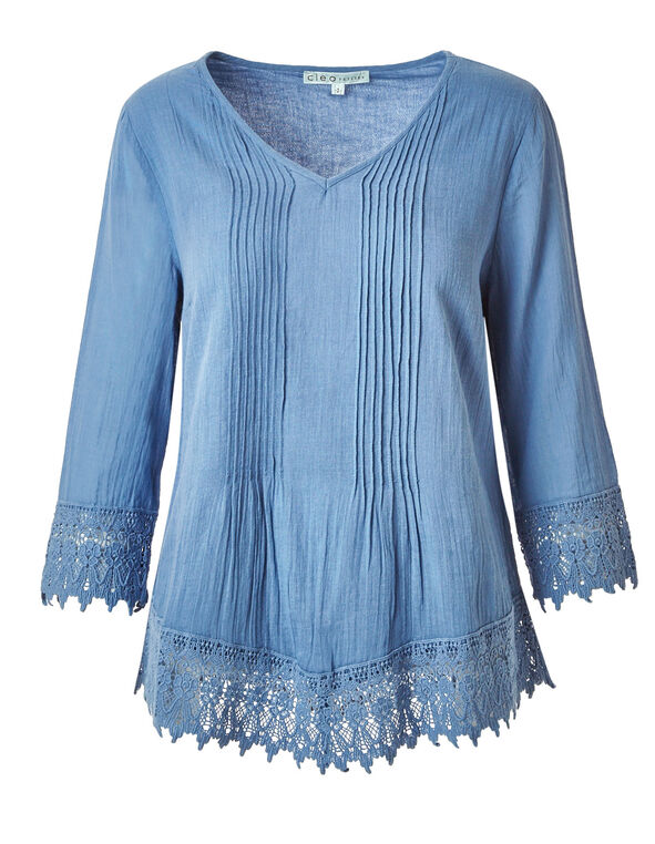 Chambray Cotton Peasant Blouse, Chambray, hi-res