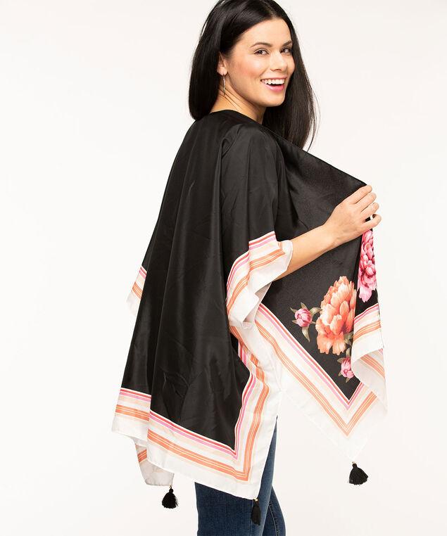 Floral Tassel Trim Kimono, Black